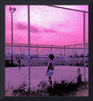 A Tennis Game at Dusk, June, 1964