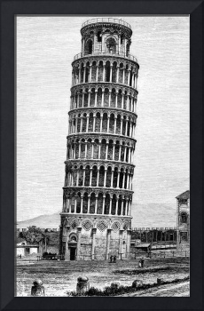 Leaning Tower Of Pisa 1870 Drawing