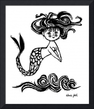 Diving Mermaid (B&W)