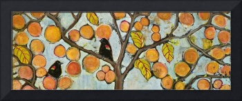Two Red Winged Blackbirds in a Tree