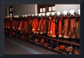 Firefighter Uniforms Lined Up at Fire Station, Pen