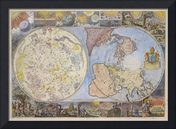 Vintage Astrological World Map (1699)