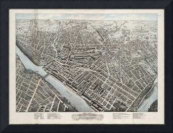 Vintage Pictorial Map of Lowell MA (1876)