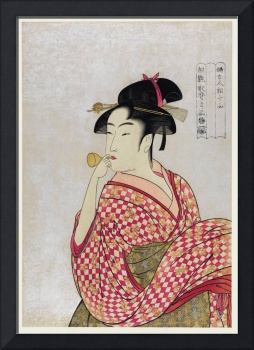 Woman Blowing a Glass Pipe by Utamaro Kitagawa