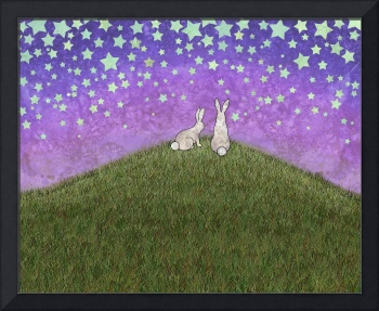 2 bunnies on a hill