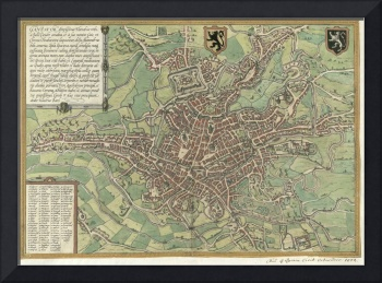 Vintage Map of Ghent Belgium (1650)