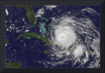 Satellite view of the eye of Hurricane Irene as it