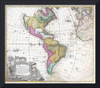 Map of South & North America by Homann Heirs