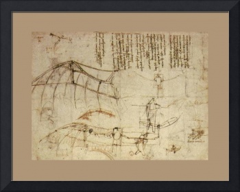 Design For A Flying Machine 1488 AD Large Border