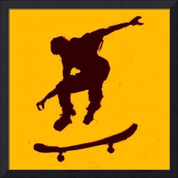 Skateboarder 3 . gold orange black (c)