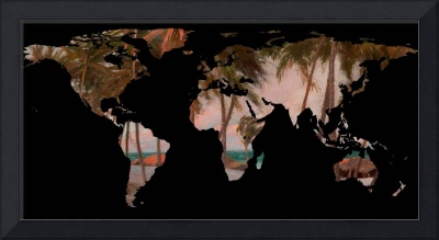 World Map Silhouette - Tropical Beach & Palms