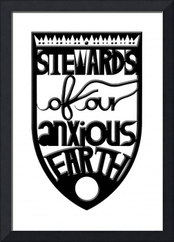 stewards of our anxious earth (black, beveled)