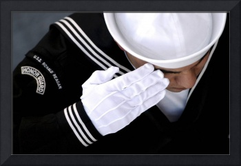 An Honor Guard member renders a salute during a bu