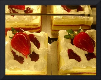Strawberry Cakes in Display Case