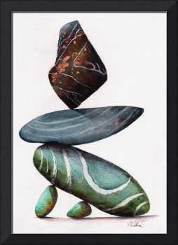Rock Steady balancing stones painting