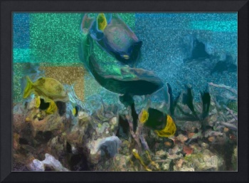 Colorful fish swimming on the reef
