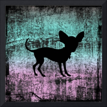 Chihuahua Silhouette on Miami Vice Grunge