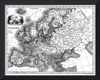 Vintage Map of Europe (1842) BW