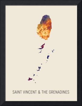 Saint Vincent & The Grenadines Watercolor Map