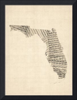 Old Sheet Music Map of Florida