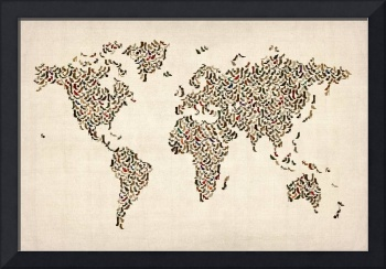 Ladies Shoes Map of the World Map