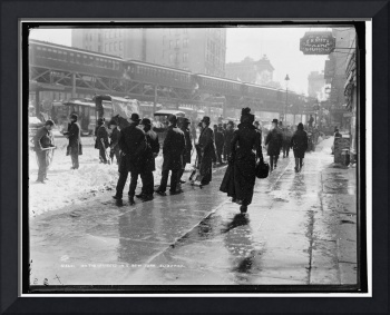 On the streets in a New York blizzard 1899