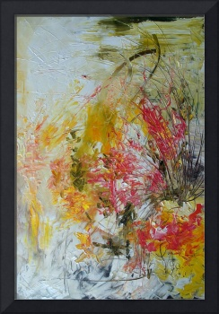Pink Blossoms Abstract Impressionist Oil Painting