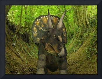 A Nedoceratops wanders a Cretaceous forest