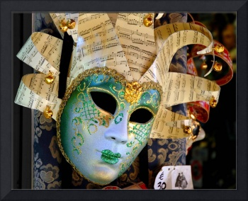 Glittering Venetian Mask with Musical Theme