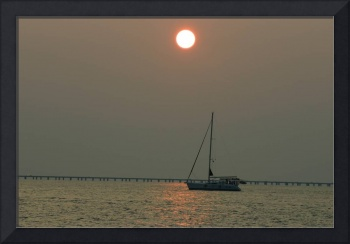 Sunset Sailboat on Lake Pontchartrain