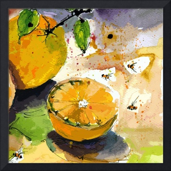 Oranges and Bees Modern Decor