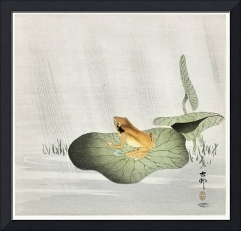 Frog on Lotus Leaf by Ohara Koson