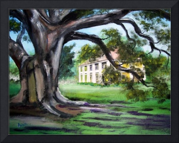 Painted Houmas House from Under the Trees