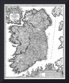 Vintage Map of Ireland (1716) BW