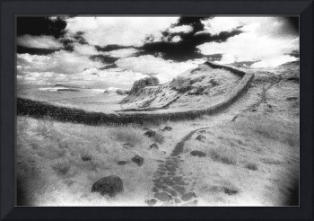 Hadrian's Wall, Northumberland (b/w photo)