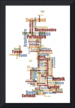 Great Britain UK County Text Map
