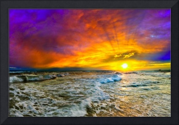 Colorful Seascape Sunset with Fiery Red Clouds Art