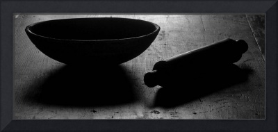 Bowl, rolling pin B&W