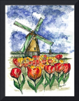 Holland Windmills Tulips 2