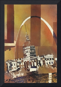 Watercolor painting of Arch of St. Louis- Missouri