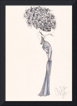 Fashion art Blue Willow illustration