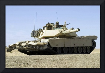 US Marines provide security in a battle tank