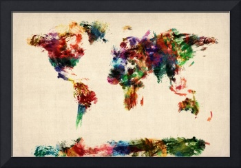 Map of the World Map Abstract Painting