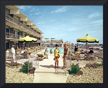 Attache Motel Retro Pool Photograph 1965, Wildwood