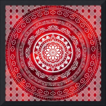 Scarlet Destiny Red & White Flower Of Life Boho Ma