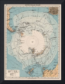 Vintage Antarctica Exploration Routes Map (1906)