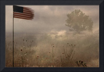 tattered flag ,united states flag in battle field