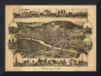 Vintage Map of Corning New York (1882)