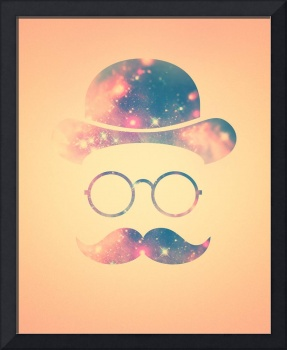 Retro Face with Moustache & Glasses / Universe - G