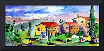 Tuscan Farm Watercolor & Ink by Ginette Callaway